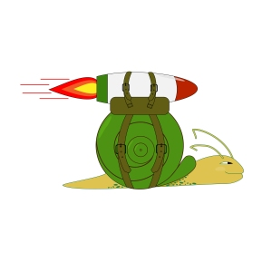 Snail with rocket